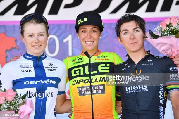 28th Tour of Italy 2017 / Women / Stage 9 Podium /Lotta LEPISTO / Marta BASTIANELLI / Giorgia BRONZINI / Celebration / Palinuro Polla 444m / Women /...
