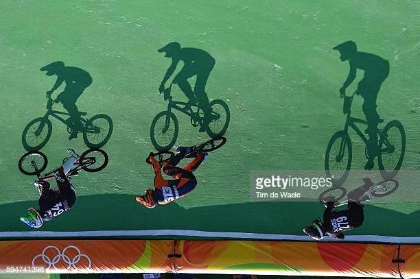31st Rio 2016 Olympics / BMX Cycling Men Quarterfinals Nicholas LONG / Niek KIMMANN / Trent JONES / Illustration / Silhouet / Olympic Bmx Centre/...