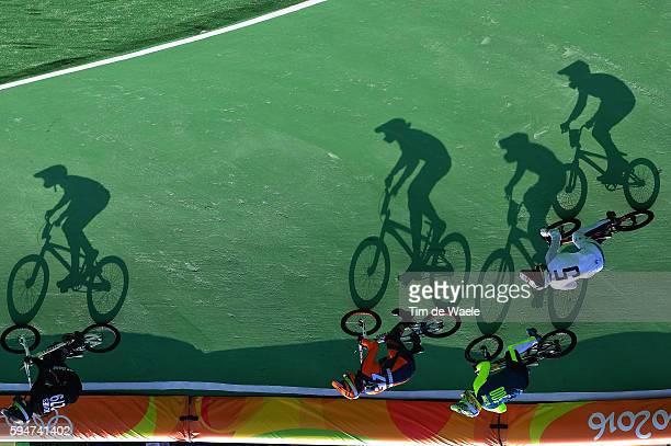 31st Rio 2016 Olympics / BMX Cycling Men Quarterfinals Trent JONES / Twan VAN GENDT / Renato REZENDE / Edzus TREIMANIS / Illustration / Silhouet /...