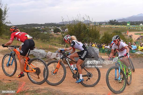 31st Rio 2016 Olympics / Cycling: Women's Cross-country Annika LANGVAD / Jolanda NEFF / Gunn-Rita DAHLE FLESJAA / Mountain Bike Centre/ Summer...