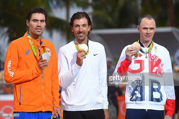 31st Rio 2016 Olympics / Men's Individual Time Trial Podium / Tom DUMOULIN NED Silver Medal / Fabian CANCELLARA Gold Medal / Christopher FROOME...