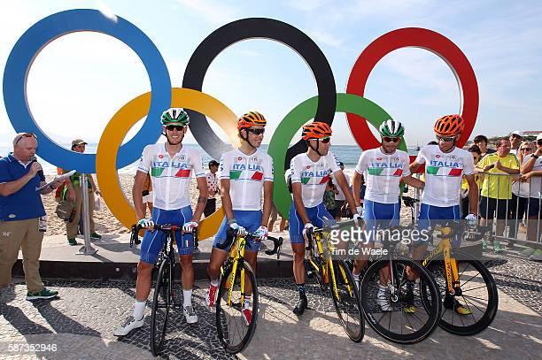 31st Rio 2016 Olympics / Men's Road Race Damiano CARUSO / Fabio ARU / Vincenzo NIBALI / DE MARCHI Alessandro / ROSA Diego / Team Italy / Fort...