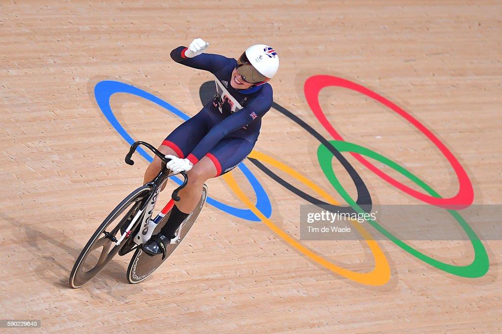 Women's Sprint Semifinals - Heat 1 Rebecca JAMES (GBR) Celebration / Rio Olympic Velodrome / Summer Olympic Games /