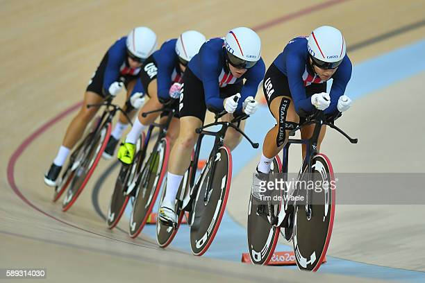 31st Rio 2016 Olympics / Track Cycling Women's Team Pursuit Finals Team UNITED STATES / Sarah HAMMER / Kelly CATLIN / Chloe DYGERT / Jennifer VALENTE...