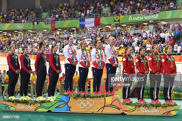31st Rio 2016 Olympics / Track Cycling Women's Team Pursuit Finals Podium / Team UNITED STATES / Sarah HAMMER / Kelly CATLIN / Chloe DYGERT /...