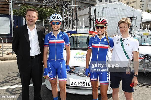 31st Rio 2016 Olympics / Women's Road Race Start / Audrey CORDON / Pauline FERRAND PREVOT / Sandrine GUIRRONNET Coach/ Fort Copacabana Fort...