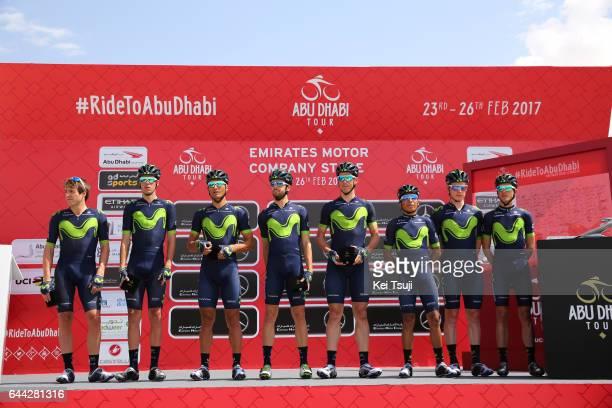 3rd Abu Dhabi Tour 2017 / Stage 1 Start / Team Movistar / Nairo QUINTANA ROJAS / Daniele BENNATI / Imanol ERVITI / Alex DOWSETT / Ruben FERNANDEZ...