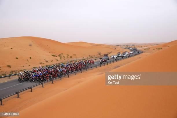 3rd Abu Dhabi Tour 2017 / Stage 3 Peloton / Landscape / Desert / Hazza Bin Zayed Stadium Jebel Hafeet 1025m / Ride to Abu Dhabi / Al Maryah Island...