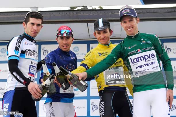 40Th Volta Algarve 2014 Stage 2Podium/ Cesar Fonte White Jersey /Valter Pereira Blue Jersey/ Michal Kwiatkowski Yellow Leader Jersey/ Rui Costa Green...