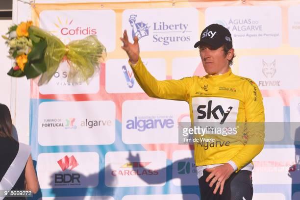 44th Volta Algarve 2018 / Stage 2 Podium / Geraint Thomas of Great Britain Yellow Leader Jersey / Celebration / Sagres Foia 900m / Algarve /