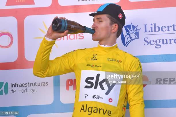 44th Volta Algarve 2018 / Stage 5 Podium / Michal Kwiatkowski of Poland Yellow Leader Jersey / Celebration / Champagne / Faro Alto Do MalhaoLoule...