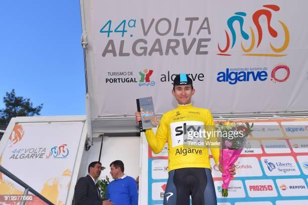 44th Volta Algarve 2018 / Stage 5 Podium / Michal Kwiatkowski of Poland Yellow Leader Jersey / Celebration / Trophy / Faro Alto Do MalhaoLoule 518m /...