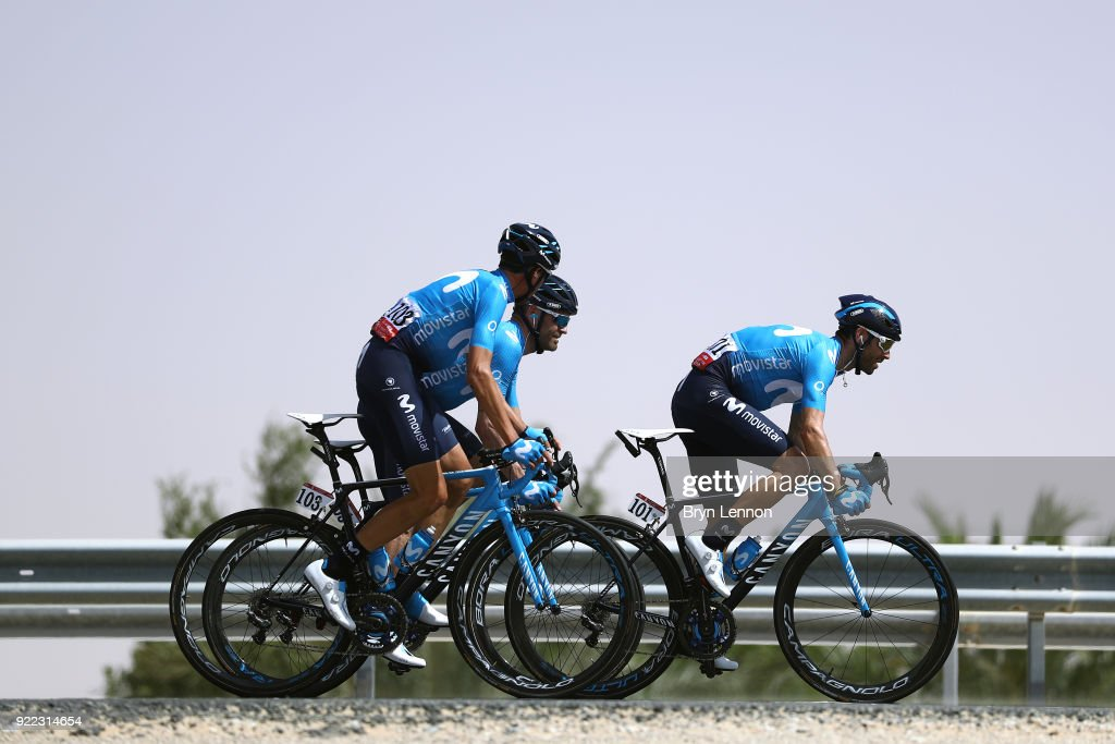 4th Abu Dhabi Tour 2018 / Stage 1 Alejandro Valverde of Spain / Victor De La Parte of Spain / Jasha Sutterlin of Germany / Team Movistar Team of Spain / Madinat Zayed - Madinat Zayed-Adnoc School (189km)/ Al Fahim Stage / Ride to Abu Dhabi /