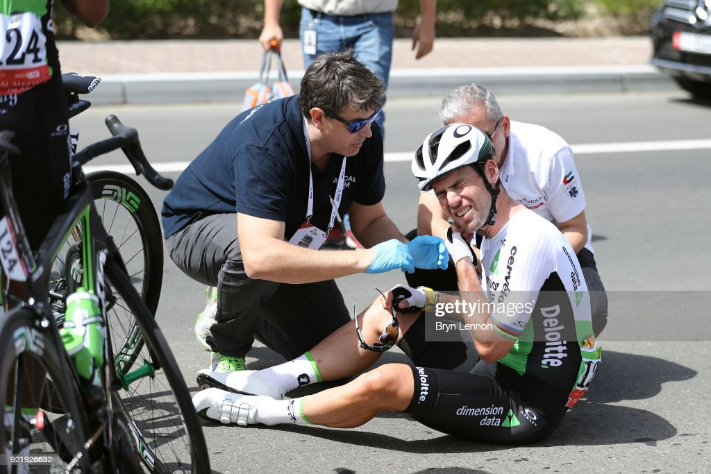 4th Abu Dhabi Tour 2018 / Stage 1 Mark Cavendish of Great Britain / Crash / Doctor / Medical / Madinat Zayed - Madinat Zayed-Adnoc School (189km)/ Al Fahim Stage / Ride to Abu Dhabi /