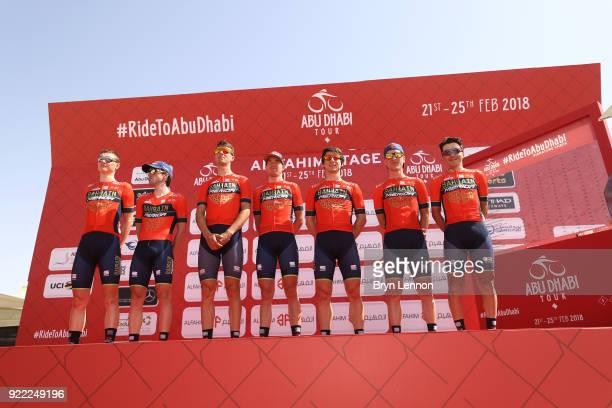 4th Abu Dhabi Tour 2018 / Stage 1 Start / Podium / Domenico Pozzovivo of Italy / Niccolo Bonifazio of Italy / Enrico Gasparotto of Italy / Ion...