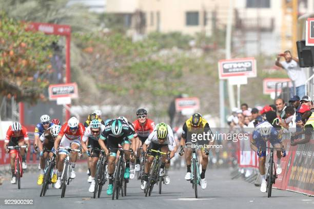 4th Abu Dhabi Tour 2018 / Stage 2 Arrival / Elia Viviani of Italy / Caleb Ewan of Australia White Best Young Rider Jersey / Danny van Poppel of The...