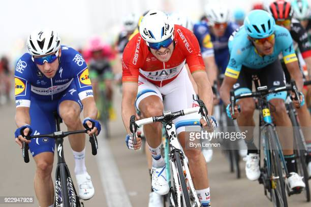 4th Abu Dhabi Tour 2018 / Stage 2 Elia Viviani of Italy / Alexander Kristoff of Norway Red Leader Jersey / Yas Mall Yas Beach / Yas Island Stage /...