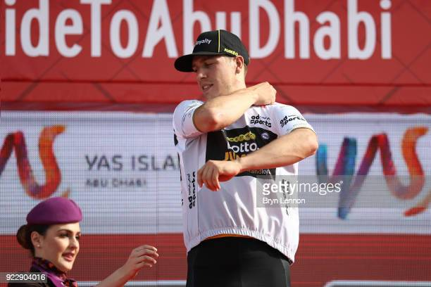 4th Abu Dhabi Tour 2018 / Stage 2 Podium / Danny van Poppel of The Netherlands White Best Young Rider Jersey / Celebration / Yas Mall Yas Beach / Yas...