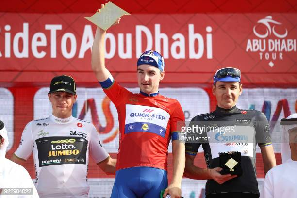4th Abu Dhabi Tour 2018 / Stage 2 Podium / Danny van Poppel of The Netherlands White Best Young Rider Jersey / Elia Viviani of Italy Red Leader...