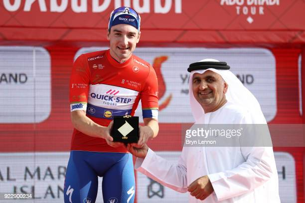 4th Abu Dhabi Tour 2018 / Stage 2 Podium / Elia Viviani of Italy Red Leader Jersey / Celebration / Trophy / Yas Mall Yas Beach / Yas Island Stage /...