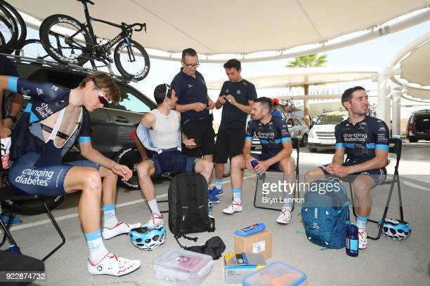 4th Abu Dhabi Tour 2018 / Stage 2 Start / Andrea Peron of Italy / Sam Brand of Great Britain / Romain Gioux of France / Joonas Henttala of Finland /...
