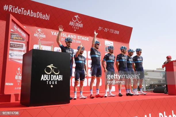 4th Abu Dhabi Tour 2018 / Stage 2 Start / Podium / Andrea Peron of Italy / Sam Brand of Great Britain / Romain Gioux of France / Joonas Henttala of...