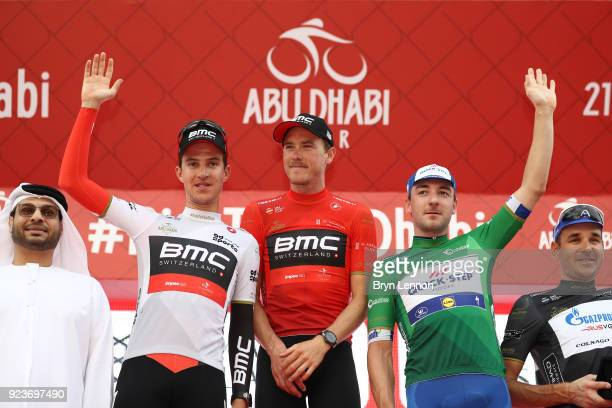 4th Abu Dhabi Tour 2018 / Stage 4 Podium / Miles Scotson of Australia White Best Young Rider Jersey / Rohan Dennis of Australia Red Leader Jersey /...