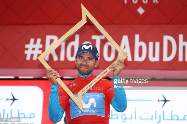 4th Abu Dhabi Tour 2018 / Stage 5 Podium / Alejandro Valverde of Spain Red Leader Jersey / Celebration / Trophy / Al Ain Jebel Hafeet 1025m / Abu...
