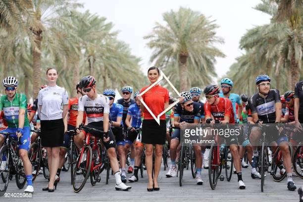 4th Abu Dhabi Tour 2018 / Stage 5 Start / Rohan Dennis of Australia Red Leader Jersey / Miss / Elia Viviani of Italy Green Points Jersey / Nikolay...