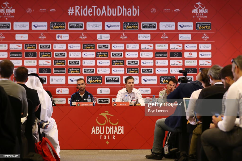 4th Abu Dhabi Tour 2018 / Top Riders Press Conference Alejandro Valverde of Spain / Rui Costa of Portugal / Mark Cavendish of Great Britain / Yas Marina F1 Circuit / PC / Ride to Abu Dhabi /