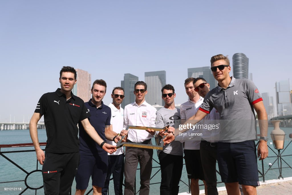 4th Abu Dhabi Tour 2018 / Top Riders Press Conference Tom Dumoulin of The Netherlands / Elia Viviani of Italy / Alejandro Valverde of Spain / Rui Costa of Portugal / Mark Cavendish of Great Britain / Rohan Dennis of Australia / Marcel Kittel of Germany / Fabio Aru of Italy / Trophy / Yas Marina F1 Circuit / PC / Ride to Abu Dhabi /