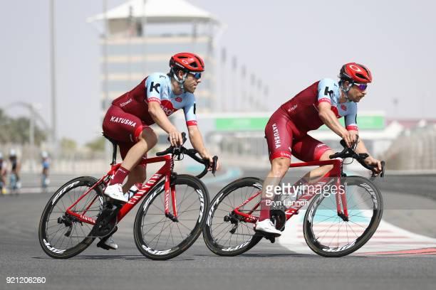 4th Abu Dhabi Tour 2018 / Training Alex Dowsett of Great Britain / Marco Haller of Austria / Team KatushaAlpecin / Yas Marina F1 Circuit / Training /...