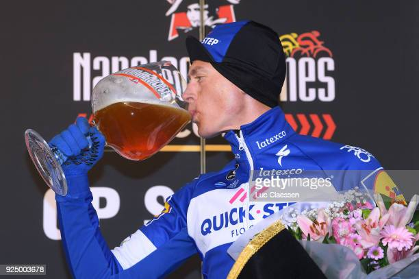 50th Grand Prix Le Samyn 2018 Podium / Niki Terpstra of The Netherlands / Celebration / Beer / Quaregnon Dour / Men / GP Samyn /