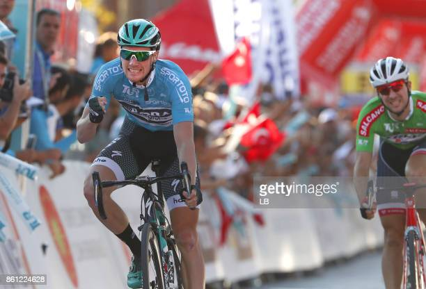 53rd Tour of Turkey 2017/ Stage 3 Arrival / Sam BENNETT Blue Leader Jersey Celebration / Edward THEUNS Green Sprint Jersey / Fethiye Marmaris /...