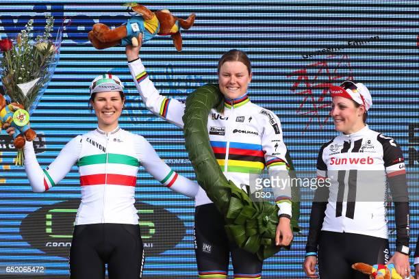 55th Ronde van Drenthe 2017 / Women Podium / Elena CECCHINI / Amalie DIDERIKSEN / Lucinda BRAND / Celebration / Hoogeveen Hoogeveen / Women / ©Tim De...