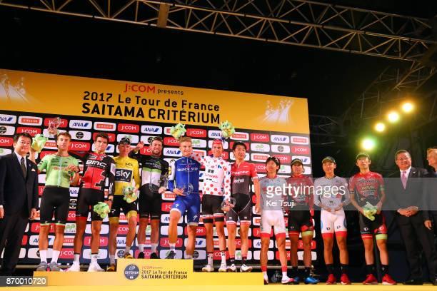 5th Tour de France Saitama Criterium 2017 Podium / Christopher FROOME Yellow Leader Jersey / Alberto BETTIOL / Warren BARGUIL Polka Dot Mountain...