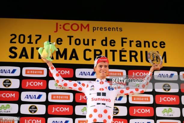 5th Tour de France Saitama Criterium 2017 Podium / Warren BARGUIL Polka Dot Mountain Jersey / Most Combative Rider Prize / Celebration / Saitama...