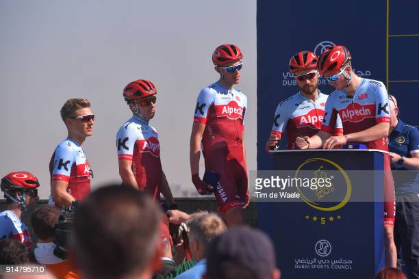 5th Tour Dubai 2018 / Stage 1 Start / Podium / Team Katusha Alpecin / Marcel Kittel of Germany Alex Dowsett of Great Britain Marco Haller of Austria...