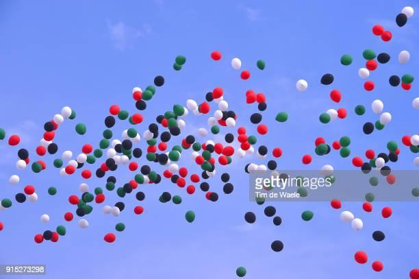 5th Tour Dubai 2018 / Stage 2 Podium / Illustration / United Arab Emirates Flag / Balloons / Skydive Dubai Al Khaimah / Ras Al Khaimah Stage / Dubai...