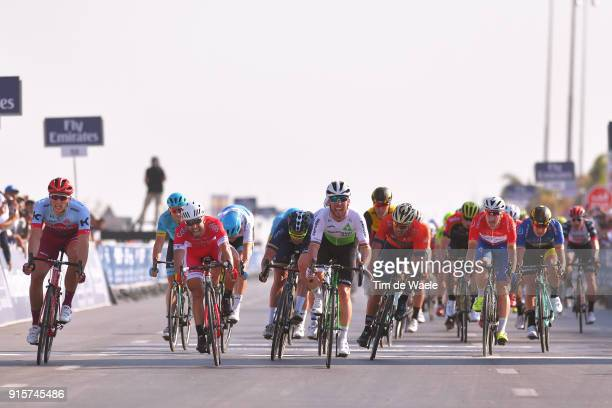 5th Tour Dubai 2018 / Stage 3 Arrival / Mark Cavendish of Great Britain Celebration / Adam Blythe of Great Britain / Marcel Kittel of Germany / Nacer...