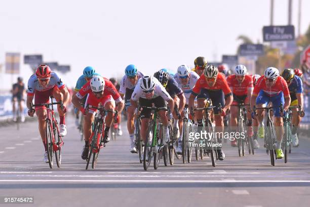 5th Tour Dubai 2018 / Stage 3 Arrival / Sprint / Mark Cavendish of Great Britain / Adam Blythe of Great Britain / Marcel Kittel of Germany / Nacer...