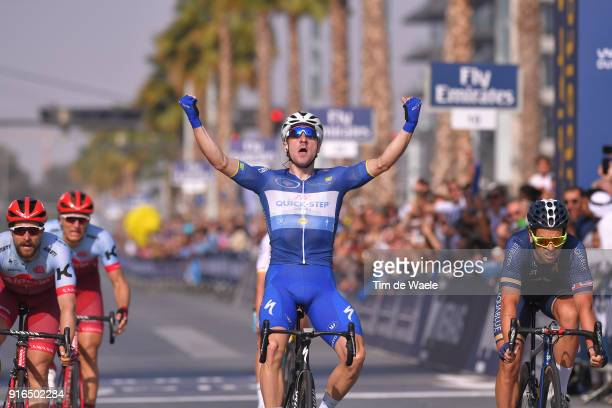 5th Tour Dubai 2018 / Stage 5 Arrival / Elia Viviani of Italy Blue Leader Jersey Celebration / Marco Haller of Austria / Marcel Kittel of Germany /...