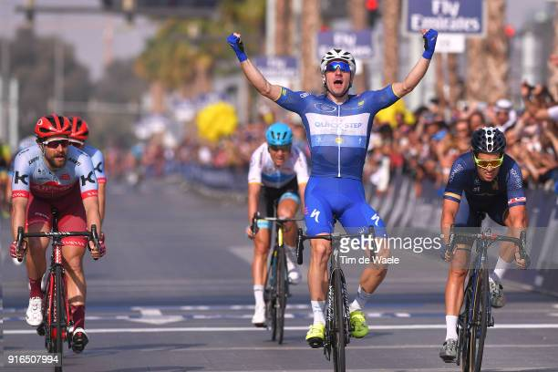 5th Tour Dubai 2018 / Stage 5 Arrival / Elia Viviani of Italy Blue Leader Jersey Celebration / Marco Haller of Austria / Adam Blythe of Great Britain...