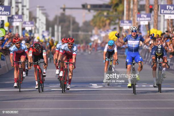 5th Tour Dubai 2018 / Stage 5 Arrival / Elia Viviani of Italy Blue Leader Jersey Celebration / Marco Haller of Austria / JeanPierre Drucker of...