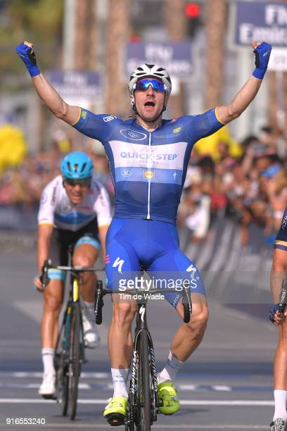 5th Tour Dubai 2018 / Stage 5 Arrival / Elia Viviani of Italy Blue Leader Jersey Celebration / Skydive Dubai City Walk / Meraas Stage / Dubai Tour /