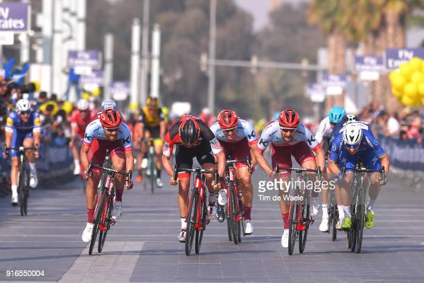 5th Tour Dubai 2018 / Stage 5 Arrival / Sprint / Elia Viviani of Italy Blue Leader Jersey / Marco Haller of Austria / JeanPierre Drucker of...
