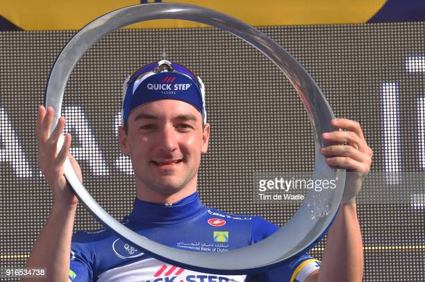 5th Tour Dubai 2018 / Stage 5 Podium / Elia Viviani of Italy Blue Leader Jersey / Trophy / Celebration / Skydive Dubai City Walk / Meraas Stage /...