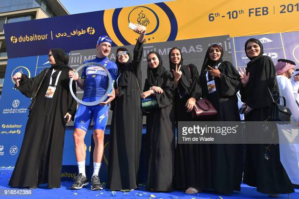 5th Tour Dubai 2018 / Stage 5 Podium / Elia Viviani of Italy Blue Leader Jersey / Trophy / Celebration / Fans / Public / Skydive Dubai City Walk /...