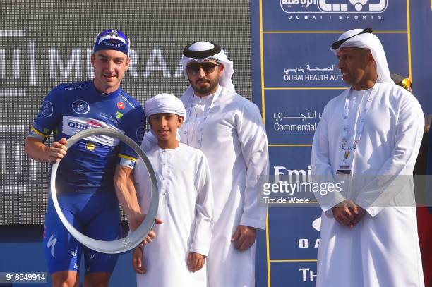 5th Tour Dubai 2018 / Stage 5 Podium / Elia Viviani of Italy Blue Leader Jersey / Trophy / Celebration / Fans / Skydive Dubai City Walk / Meraas...