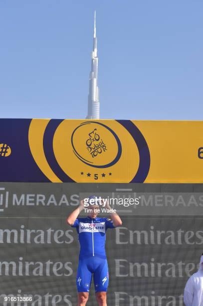 5th Tour Dubai 2018 / Stage 5 Podium / Elia Viviani of Italy Celebration / Burj Khalifa Building / Trophy / Skydive Dubai City Walk / Meraas Stage /...